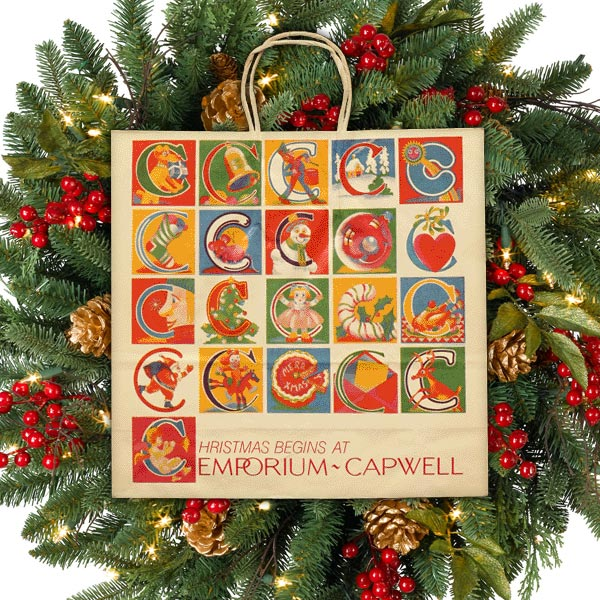 Emporium Capwell Christmas Begins Shopping Bags
