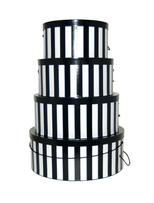 nested round hat boxes, black and white stripes