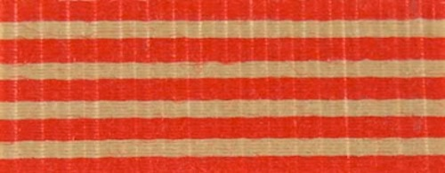 Cotton Ribbon: red stripes on Kraft