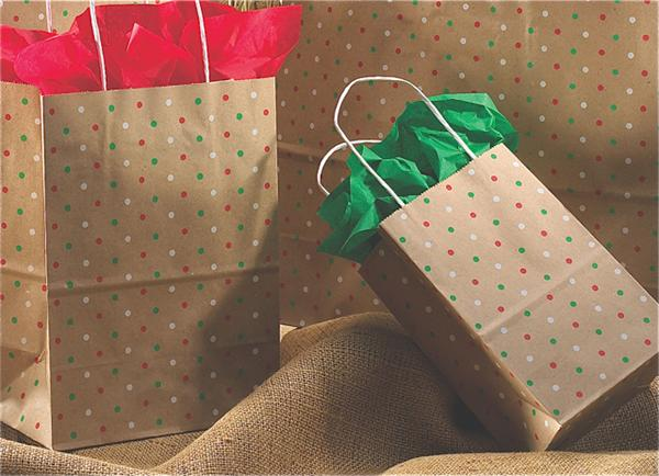 100% Recycled Kraft Paper Bag - Holiday Dots pattern