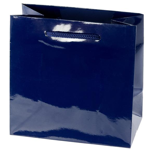 Glossy  Navy Blue Shopping Bag