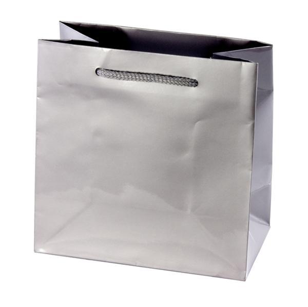 Euro Style Soft-Handle Laminated Paper Shopping Bag - Platinum