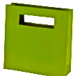 Green Paper Bag with Die Cut Handles