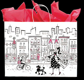 White Paper Shopping Bag with Paper Handles -  Skyline, Shopper and Black Poodle