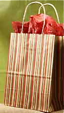 Recycled Paper Shopping Bag - Holiday Fireside Stripes