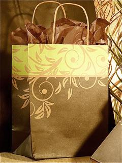 Recycled Kraft Paper Shopping Bag - Antigua Print