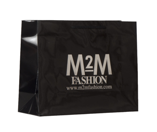 Euro Style Soft-Handle Laminated Paper Shopping Bag - Glossy Black