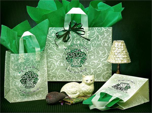 Green Scrolls Plastic Shopping Bag
