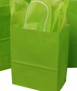 Lime Green/Citron Kraft Paper Shopping Bags with White Handles