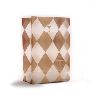 frosted plastic bag with harlequin diamond pattern - 7 x 3.5 x 10