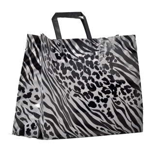 Plastic Shopping Bag with Black Tri-Fold Handles - ZEBRA