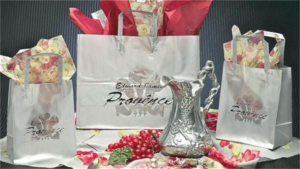 Sheer Silver Plastic Shopping Bag