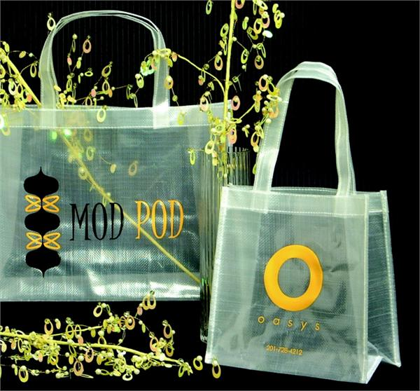 Reusable Sparkling Clear Woven Polypropylene Tote Bag