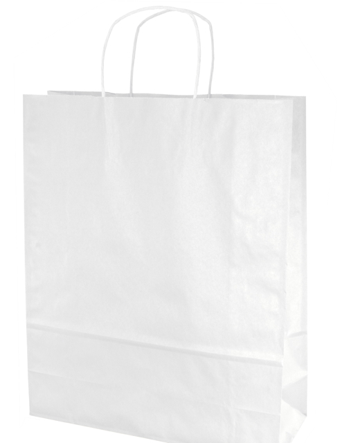 50% Recycled Glossy White Kraft Paper Shopping Bag