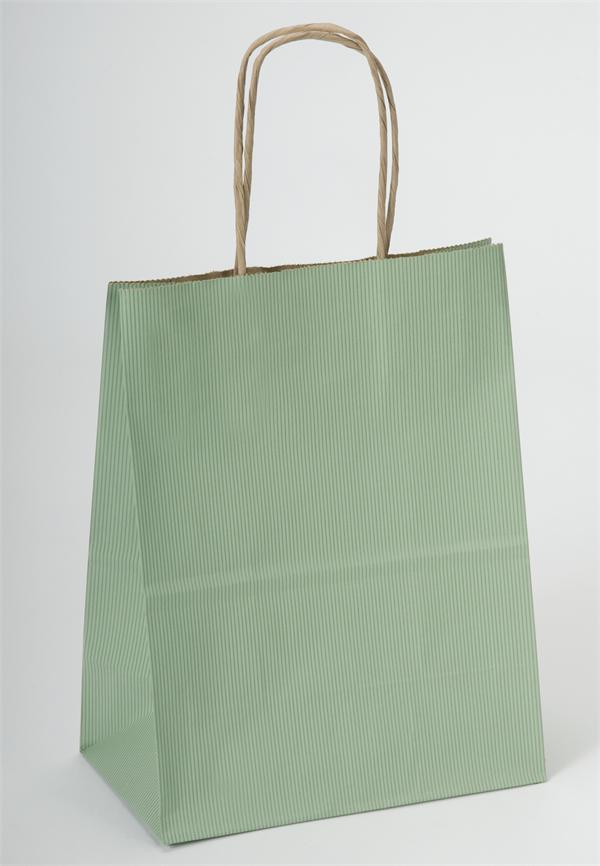 50% RECYCLED Kraft Paper Shopping Bag with Kraft Handles - Sage Green Striped