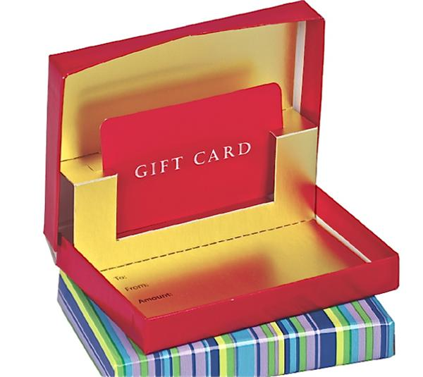 Presentation Box for Gift Cards - Red with Gold Interior