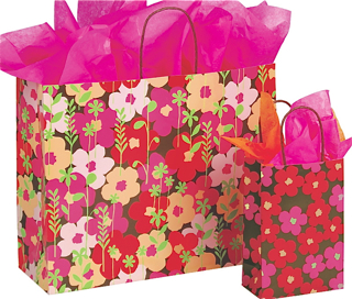 Paper Shopping Bag with Red Paper Handles - Just Peachy