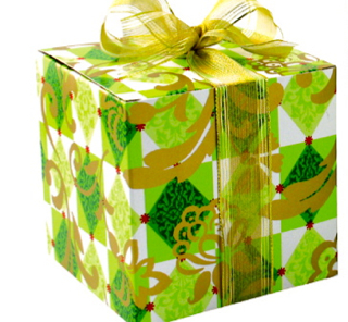 Laminated Gift Box - green and gold flourish