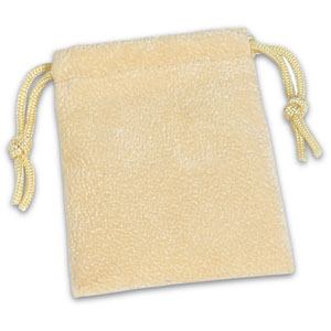 Suede Drawstring Pouch Rectangular - Soft Beige