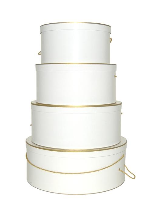White Clay Coat with Gold Trim Hat Boxes Nested