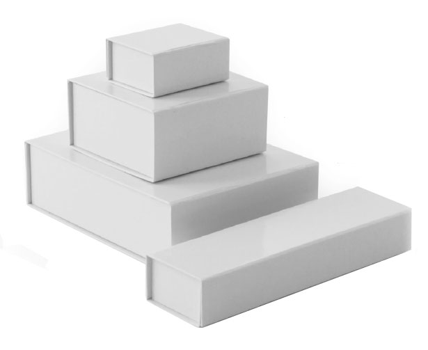 glossy white retail folding boxes with magnet closures in assorted sizes