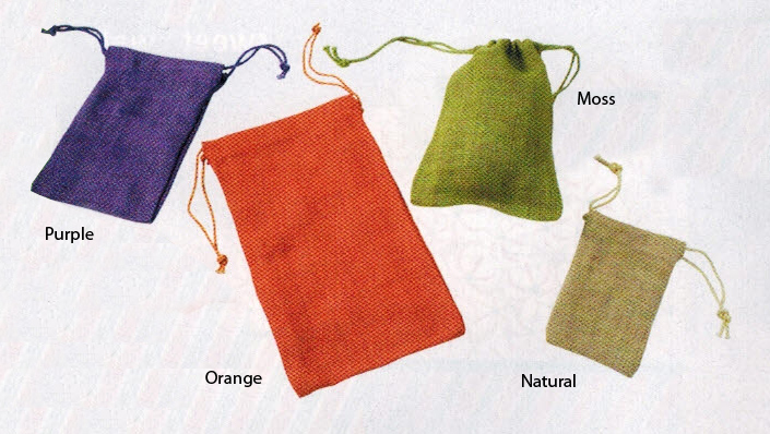 Jute Pouches - Natural, Orange, Moss and Purple