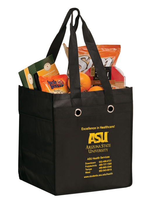 """Reusable Non-Woven Polypropylene Food Service Bag, 12""""w x 10""""d x 14""""h - Available in multiple colors"""
