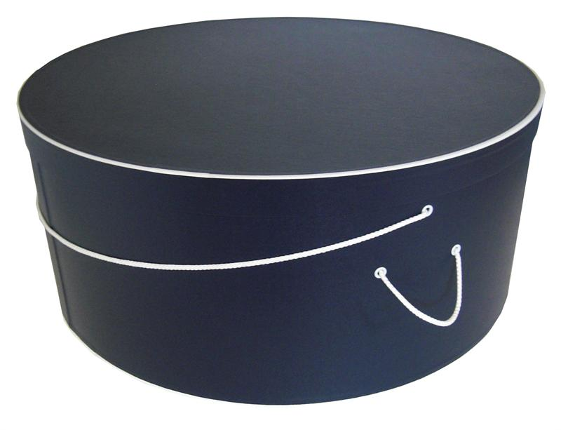 Round hat box large navy blue with white trim
