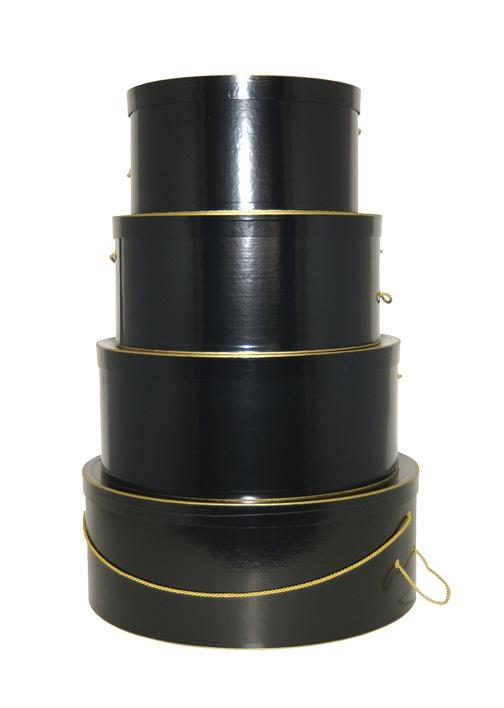 Nested Hat Boxes - Glossy Black with Gold Trim