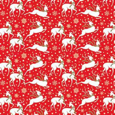 Golden Reindeer Patterned Gift Wrap