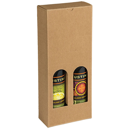 Bottle Box, 2 Bottles (375 ml) - Natural Textured Rib