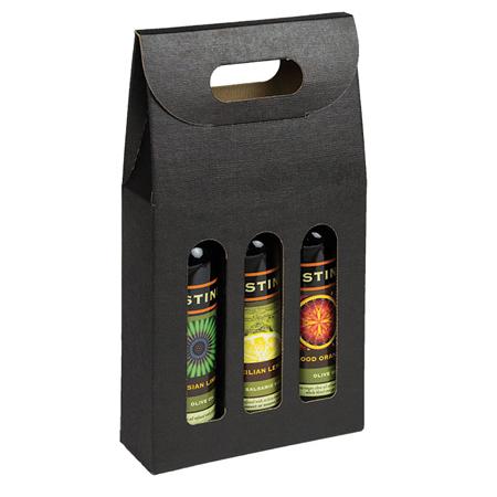 Bottle Carrier, 3 Bottles (200 ml) - Black Linen