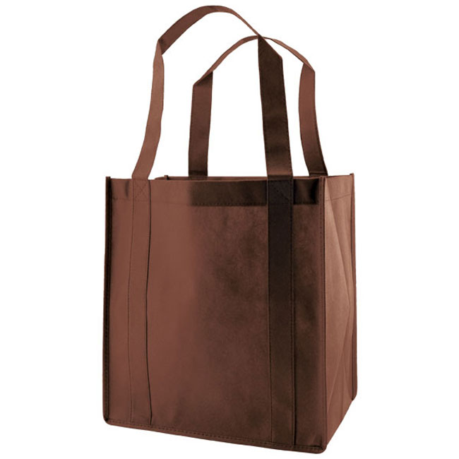 """Grocery Tote, Chocolate, 13"""" x 5"""" x 10"""", 20"""" Handle"""
