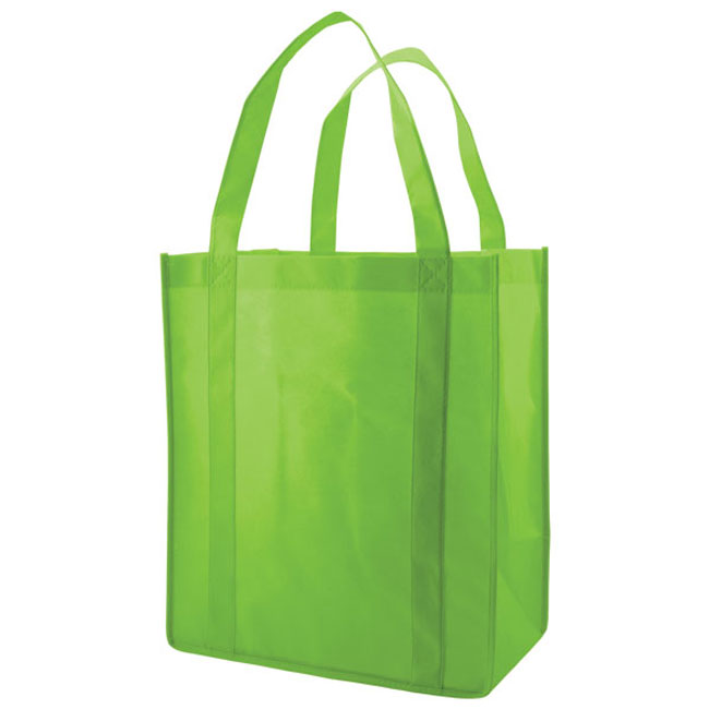 """Grocery Tote, Lime Green, 12"""" x 8"""" x 13"""", 20"""" Handle"""