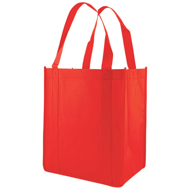 """Grocery Tote, Red, 12"""" x 8"""" x 13"""", 20"""" Handle"""