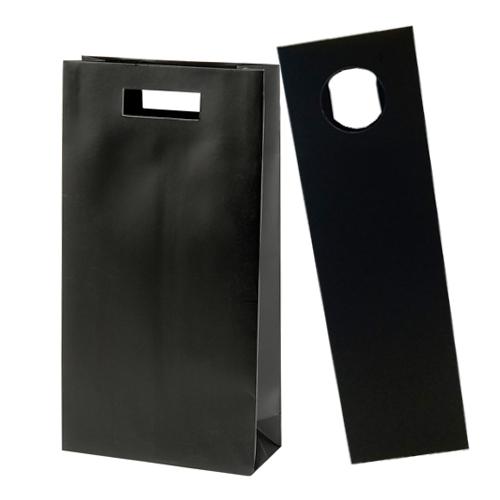 30% Recycled Kraft Paper Wine Bottle Bag - Black