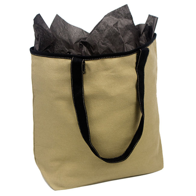 "Khaki with Black Trim Cotton Tote Bags 16"" H x 13"" W x 5"" G"