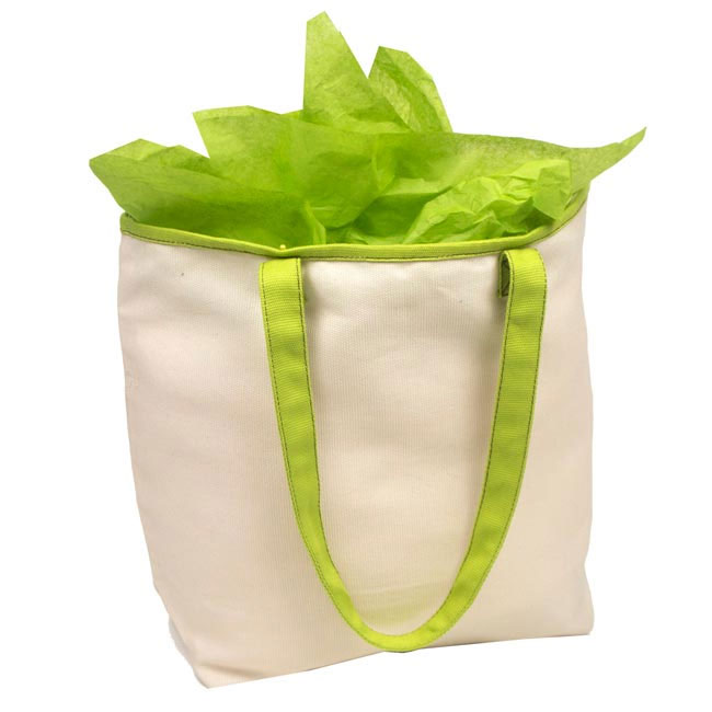 """Natural with Green Trim Cotton Tote Bags 16"""" H x 13"""" W x 5"""" G"""
