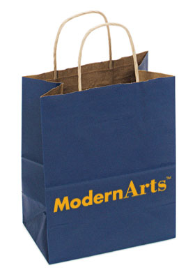 Custom Shopping Bag Kraft Paper Handles Navy Blue Exterior