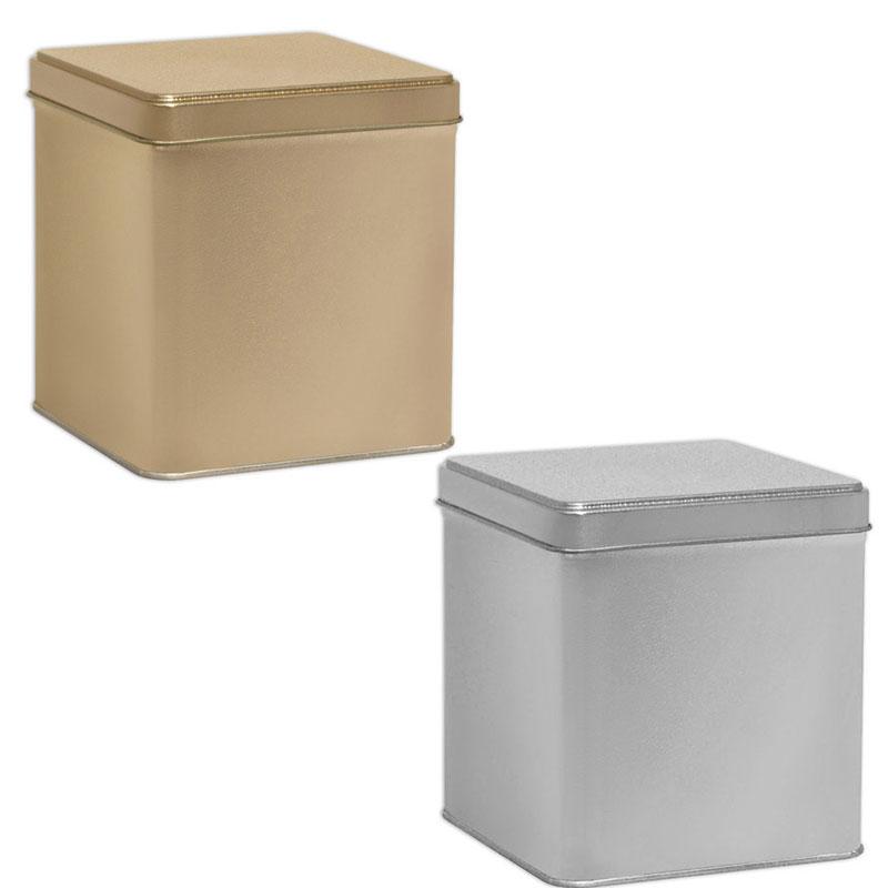 Tin Box Deep Square - Platinum and Gold
