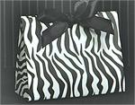 Euro Style Soft-Handle Laminated Paper Purse Bag / Box - Black and White Zebra Stripes
