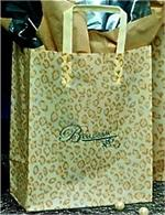 Frosted Plastic Shopping Bag with Loop Handles - Leopard Spots