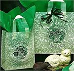Frosted Plastic Shopping Bag with Loop Handles - Green & Ivory