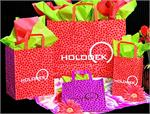 Frosted Plastic Shopping Bag with Loop Handles - Pink/Red/Orange Mosaic