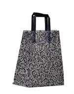 Frosted Clear Plastic Shopping Bag - Loop Handles, Black Paisley