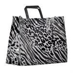 Plastic Shopping Bag with Black Loop Handles - ZEBRA