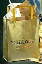 Frosted Sheer Plastic Shopping Bag - Gold