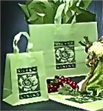 Frosted Plastic Shopping Bag with Loop Handles - Sage Green