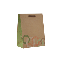 80% Recycled Euro Style Kraft Paper Shopping Bag - Rings Pattern
