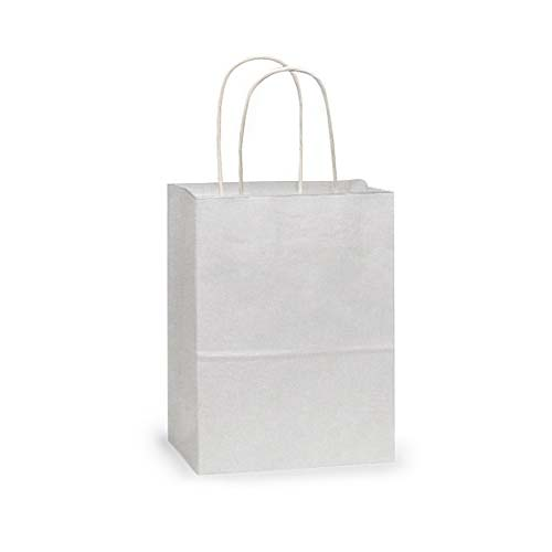 White Shopping Bags Recycled Kraft White Twisted Handles